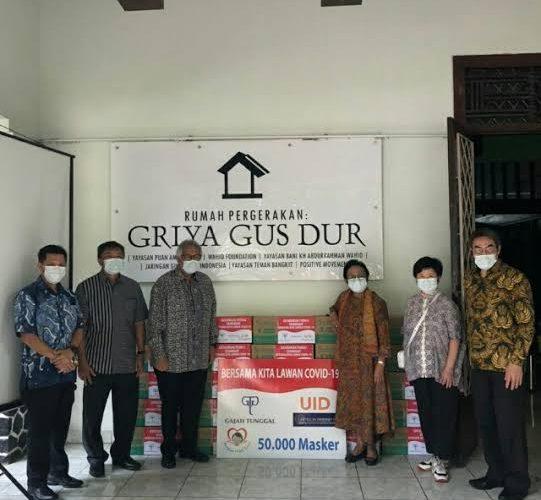 Cegah Corona,Jaringan Gusdurian Terima 50.000 Masker Dari Gajah Tunggal Group
