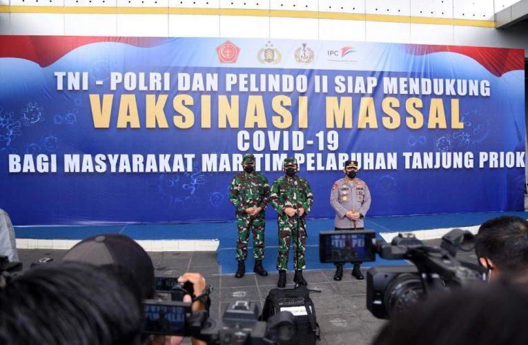 Serbuan Vaksinasi Covid-19 Di Pelindo II Dihadiri Panglima TNI Dan Kapolri